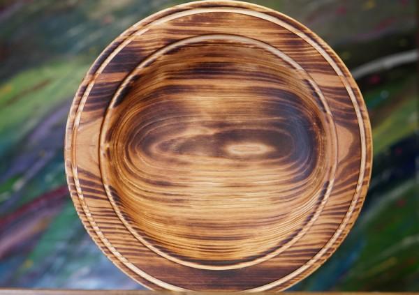 tiefer Teller aus Zedernholz - dunkel