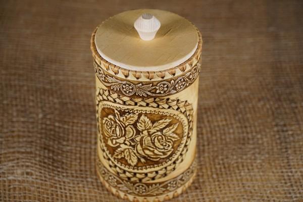 """Vorratsdose """"Rose"""", Handarbeit aus Birkenrinde 17 cm"""