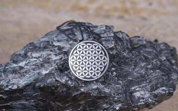 Schungit Anhänger rund, Symbol Blume des Lebens Ø ca.2,5cm