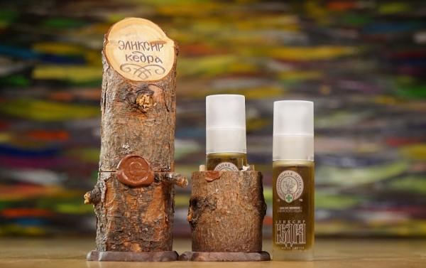 Öl Elixir aus sibirischen Zedernzapfen mit Deko-Holzaussteller