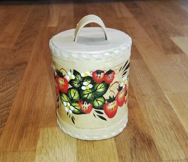 "Vorratsdose ""Erdbeere"", Handarbeit aus Birkenrinde 12cm"