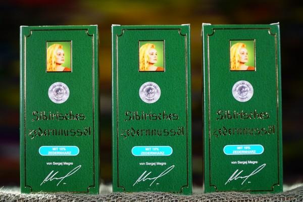 3 x Zedernussöl mit 10% Harz von Fa.Megre