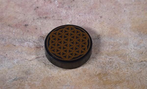 Schungit Platte rund mit Blume des Lebens, Ø 5cm