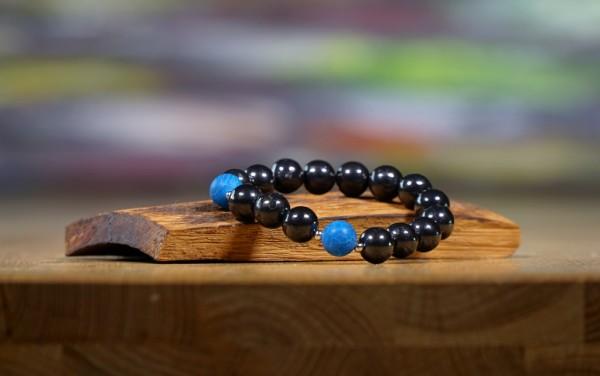 "Schungit Armband ""Blaue Kugel"", 7mm"