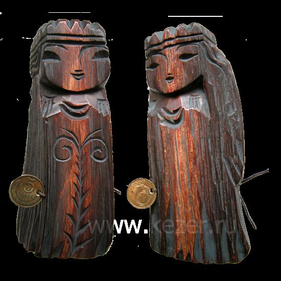 Dyaryk für die Frau, Talisman des Wohlstands aus sib. Zedernholz, 17-20 cm