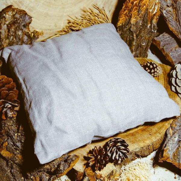 sibirisches Zedernkissen mit Zedernfüllung 28 cm, grau