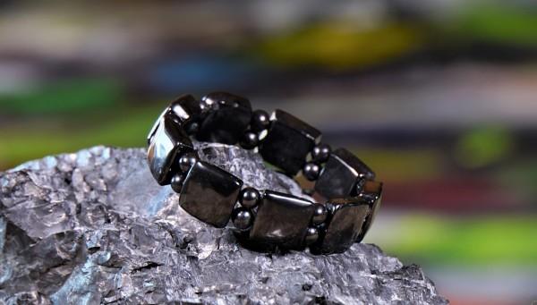 Schungit Armband Quadratisch mit Perlen