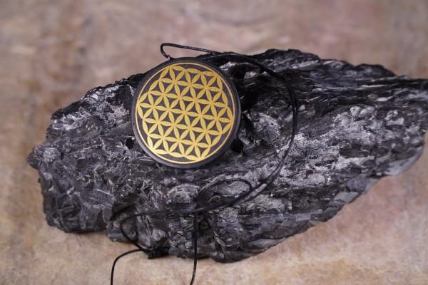 Schungit Anhänger rund Ø ca.3-3,5cm Blume des Lebens - Farbe Gold