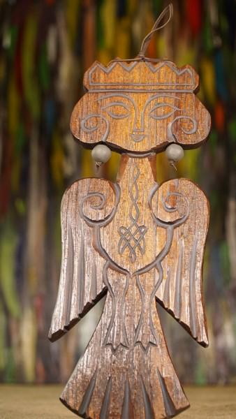 """Hauswächter aus sibirischen Zedernholz """" Sirin"""", 23 cm"""