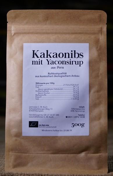 BIO Kakaonibs mit Yaconsirup, Rohkostqualität, 500g