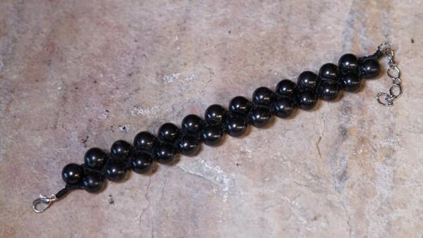 Schungit Armband Doppelperlen geflochten, 8mm