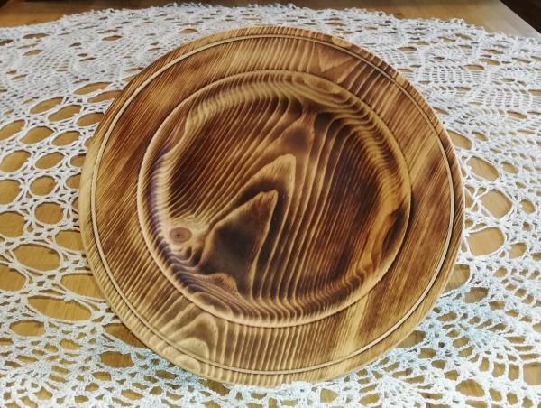 flacher Teller aus Zedernholz - dunkel