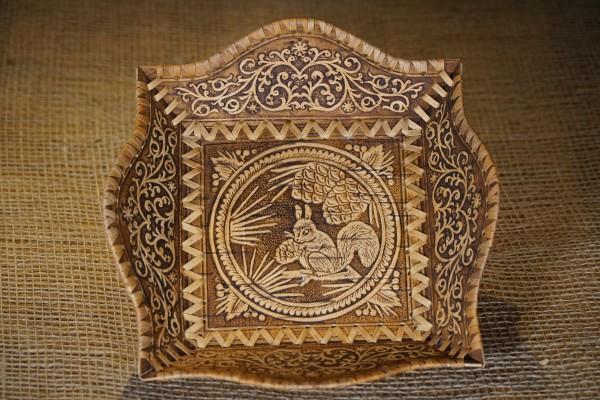 Korb aus Birkenrinde, Handarbeit 24cm