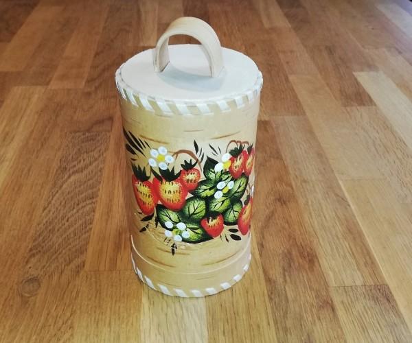 "Vorratsdose ""Erdbeere"", Handarbeit aus Birkenrinde 17cm"