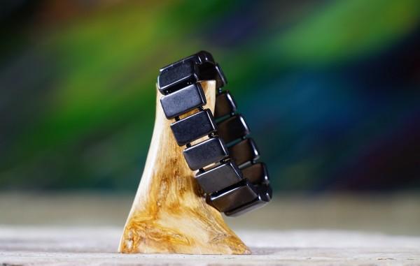 Armband Viereck mit Perle poliert