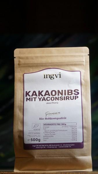 Kakaonibs Criollo mit Yaconsirup, Rohkostqualität, Bio