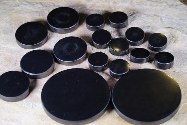 Schungit-Set-Platten für Steintherapie, 17 Teile