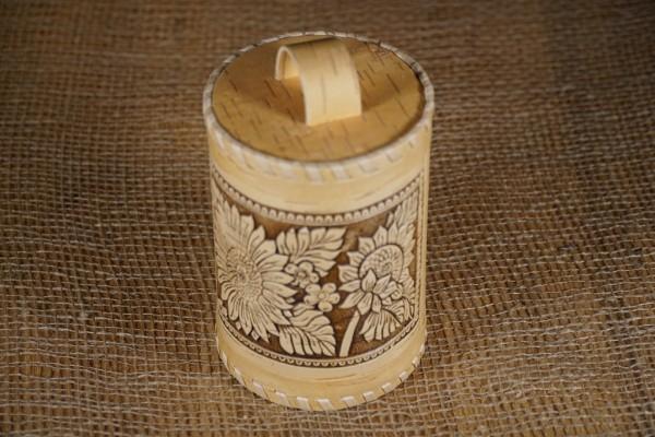 """Vorratsdose """"Sonnenblumen"""", Handarbeit aus Birkenrinde 15 cm"""