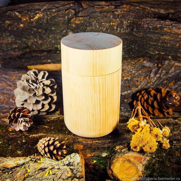 Dose aus sibirischer Zeder, Ø ca 9cm x 15cm - Handarbeit