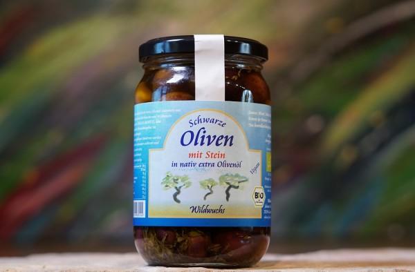 Oliven schwarz mit Stein in Olivenöl, Rohkostqualität, Bio 320g