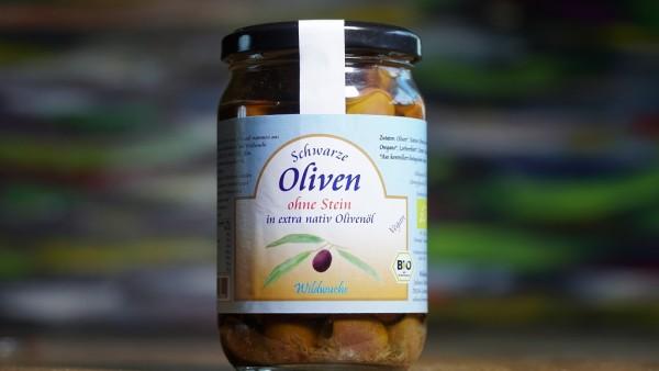 Oliven schwarz ohne Stein in Olivenöl, Rohkostqualität, Bio 320g
